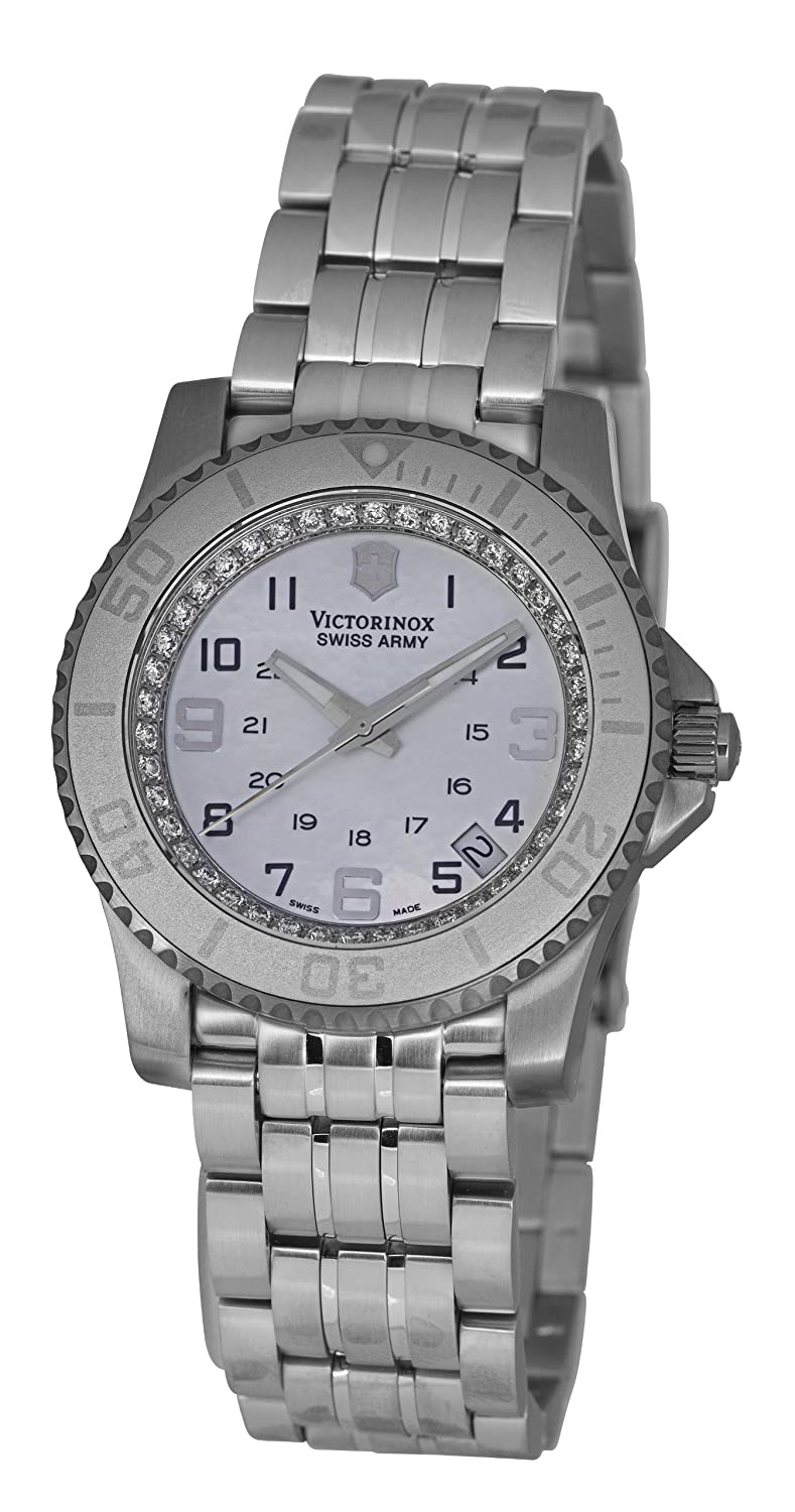 Victorinox Swiss Army Unisex Quartz Watch with Mother Of Pearl Dial Analogue Display and Silver Stainless Steel Strap V.251147