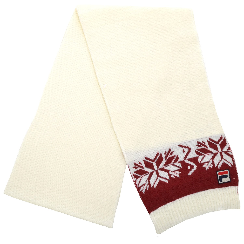 Fila F Box Vintage Unisex Winter Woolie Nordic Scarf Scarves - Cream - OS
