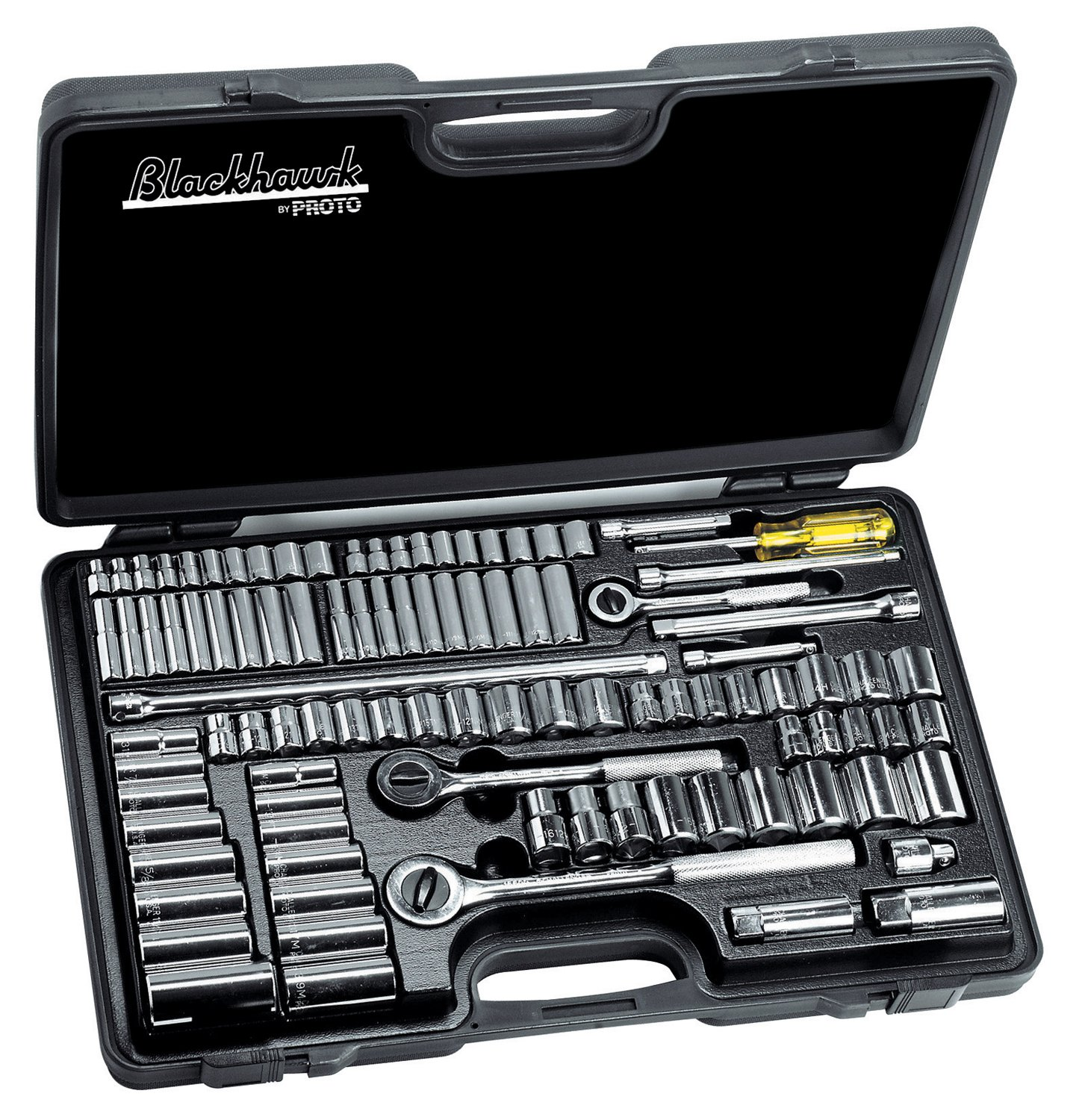 Blackhawk 578-9796 9796 Standard and Metric Socket Sets, 1/4', 3/8', 1/2', 6 Point/12 Point, 99 Piece 1/4 3/8 1/2 Stanley Products