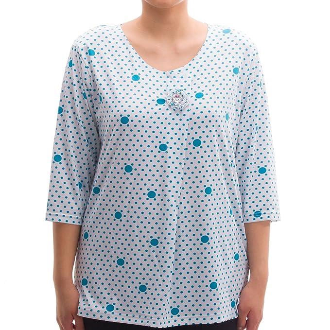 LUCKY Brand - Camiseta - Animal Print - Manga Corta - para Mujer Azul Claro Large