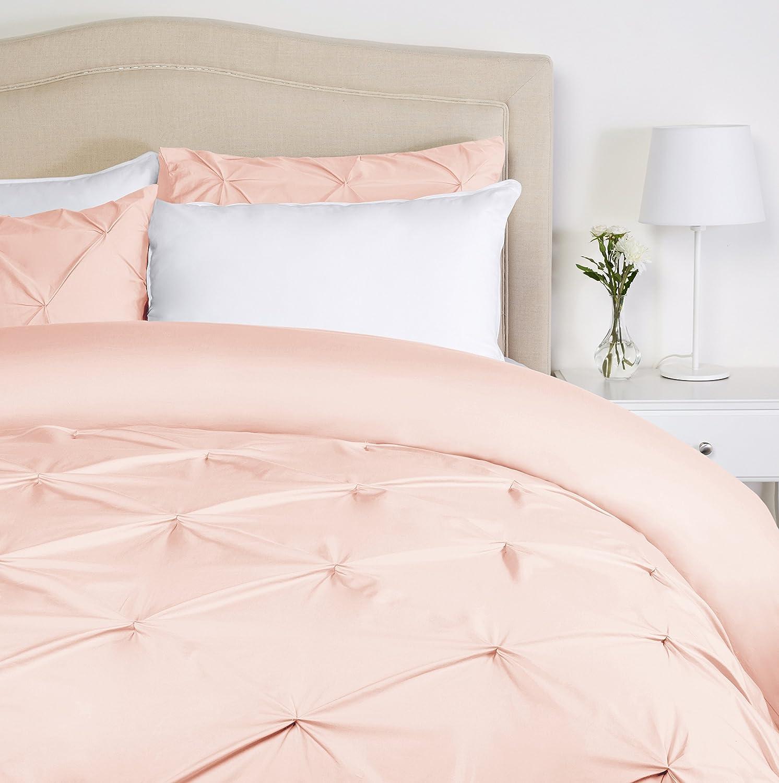 Pinzon Pinch-Pleat Duvet Cover Set, Full / Queen, Blush Pink