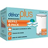 Dekor Plus Diaper Pail Biodegradable Refills | 4 Count | Most Economical Refill System | Quick and Simple to Replace…