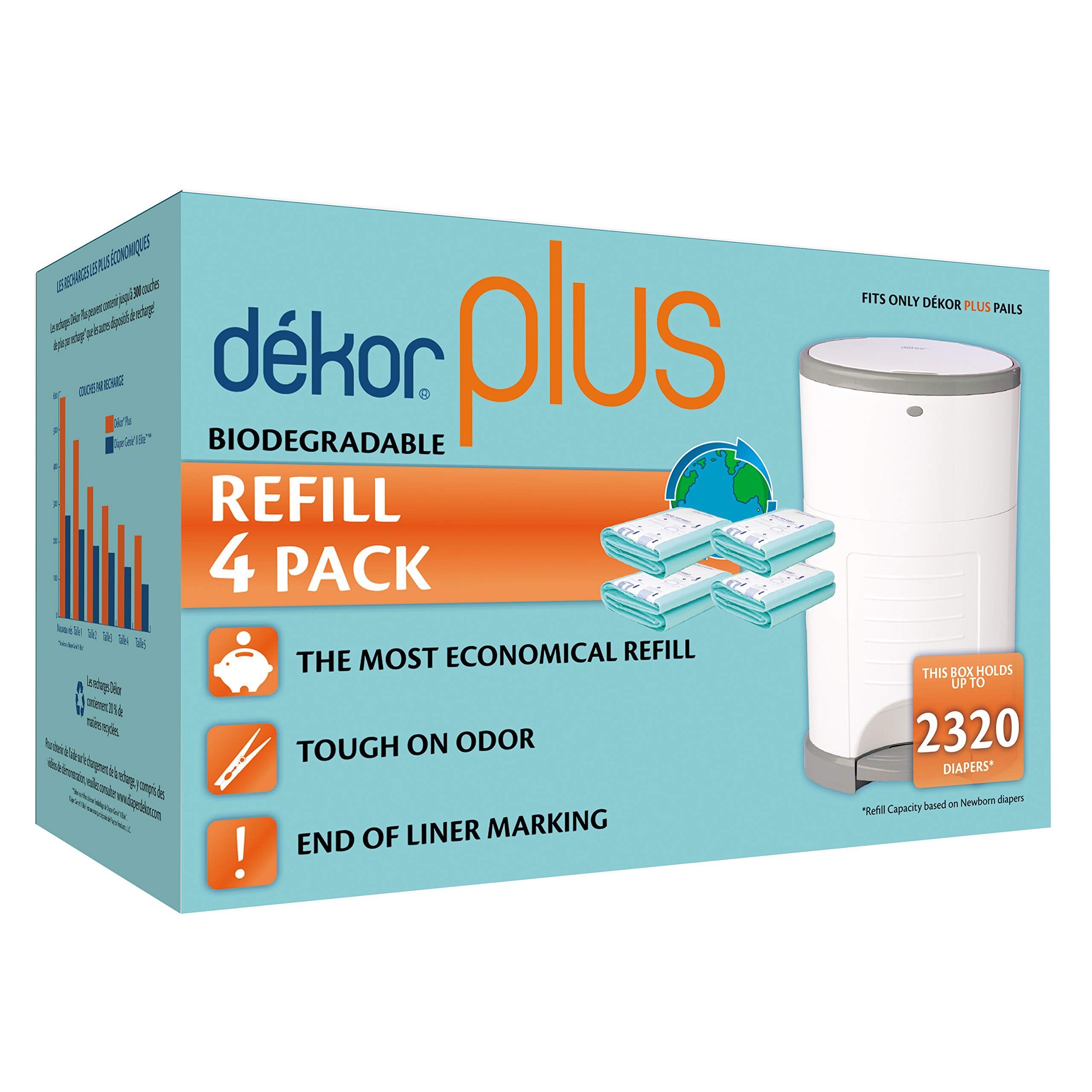 Dekor Plus Diaper Pail Biodegradable Refills | 4 Count  | Most Economical Refill System | Quick and Simple to Replace | No Preset Bag Size - Use Only What You Need | Exclusive End-of-Liner Marking by DEKOR