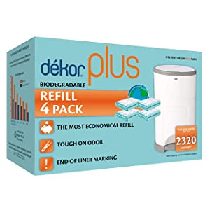 Dekor Plus Diaper Pail Biodegradable Refills | 4 Count| Most Economical Refill System | Quick and Simple to Replace | No Preset Bag Size – Use Only What You Need | Exclusive End-of-Liner Marking