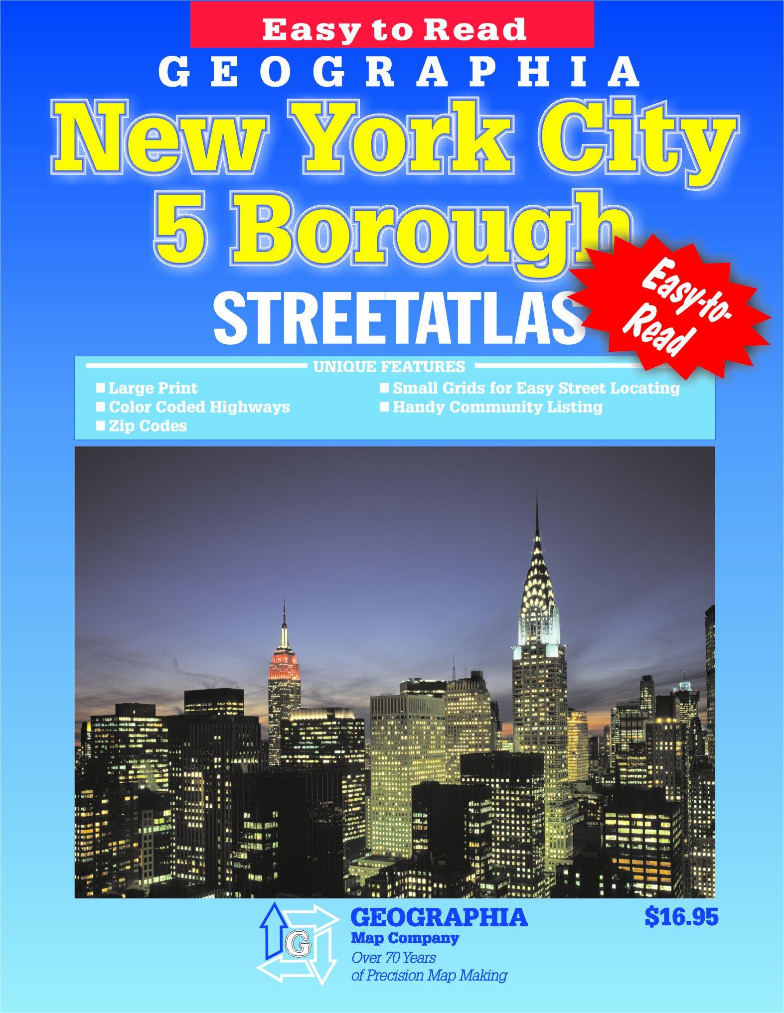 new york city ny 5 borough atlas geographia 9780884333449 amazoncom books