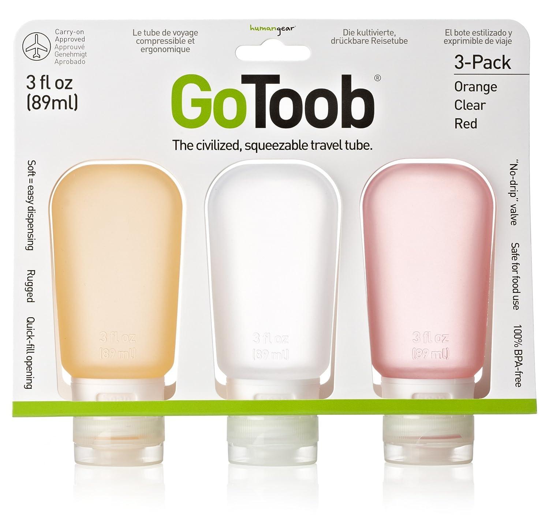 HumanGear GoToob, 2.0-Ounce, Medium, 3-pack, lime green, clear, sky blue, HG0184