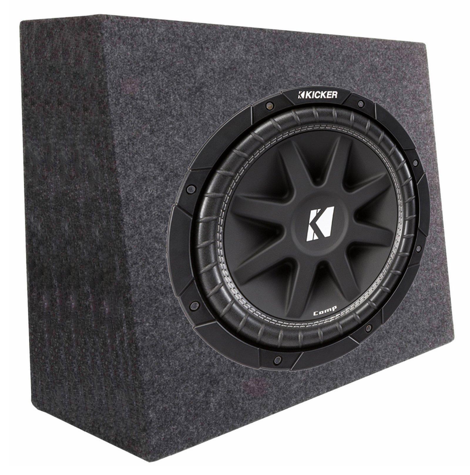 Kicker 43C124 12'' 300W 4-Ohm Car Audio Subwoofer Sub + Slim Shallow Truck Box