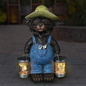 Exhart Solar Rustic Farmhouse Bear with Firefly Jars Statuary, 12.5 Inches