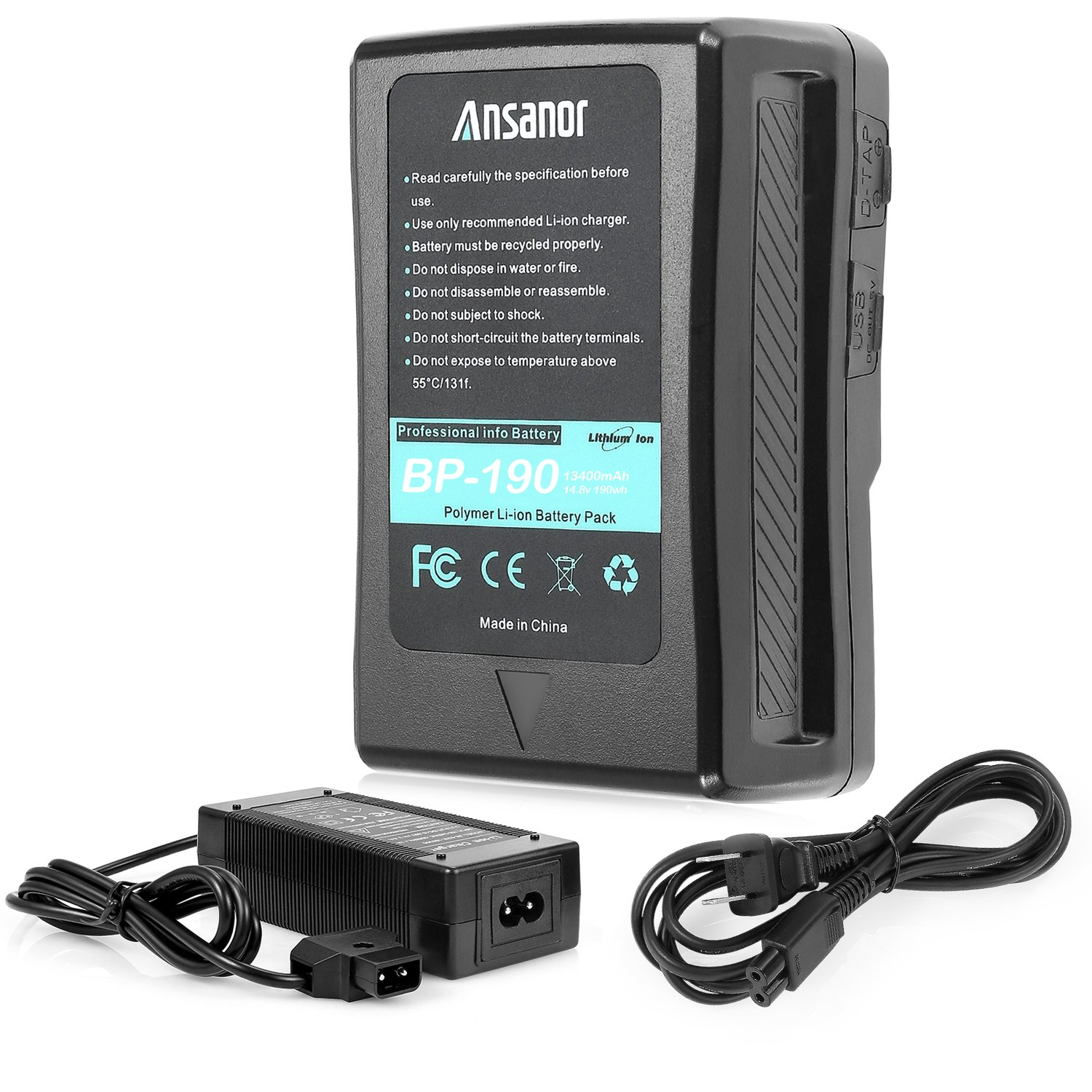 Ansanor 13400mAh 14.8V V-Mount Battery and Charger for Video Camera Camcorder (190 Watt Hour)