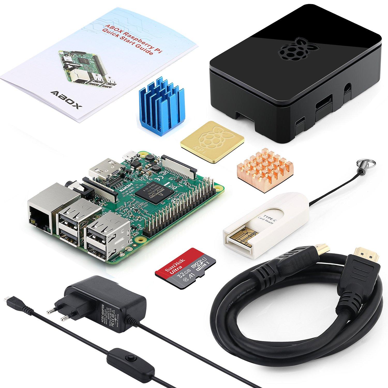 Globmall ABOX Raspberry Pi Modelo B Starter Media Center Kit con GB MicroSD Adaptador de Corriente con Interruptor disipadores Cable HDMI Caja de Calidad Lector de Tarjetas