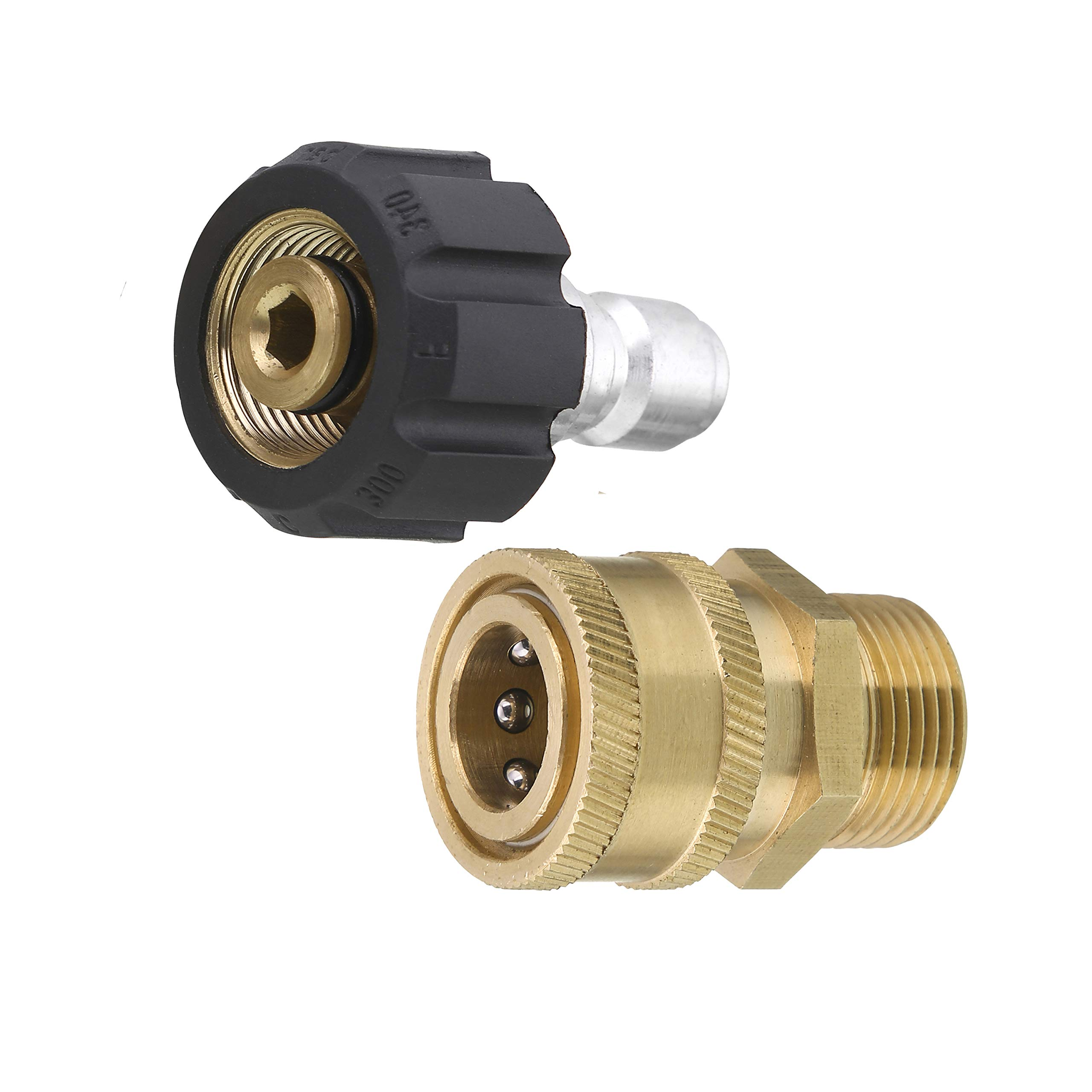 Tool Daily Pressure Washer Adapter Set, Quick Connect Kit, Metric M22 15mm Female Swivel to M22 Male Fitting, 5000 PSI
