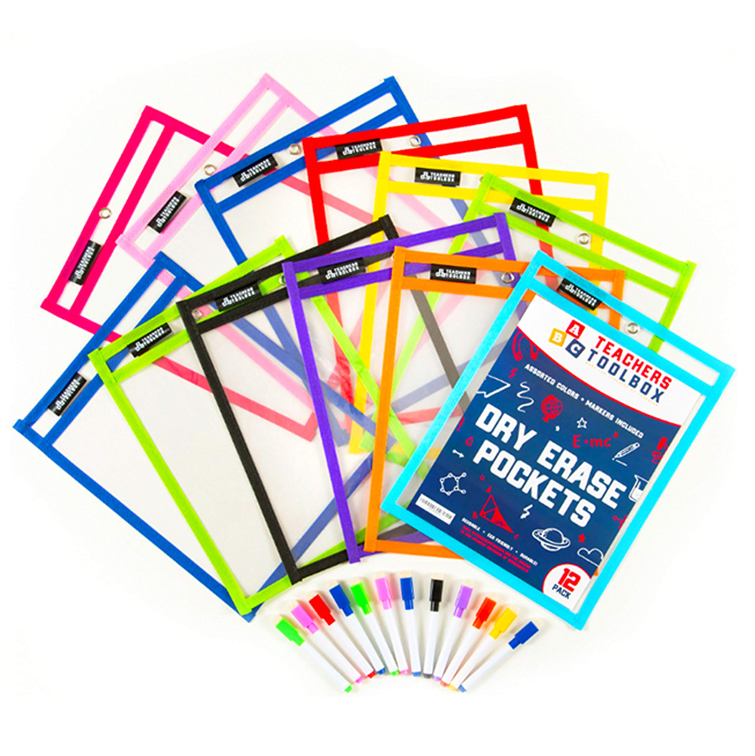 """Dry Erase Pockets 12pc [10"""" x 13""""] +FREE PENS +BONUS 900 Downloadable Worksheets! Write and Wipe Reusable Plastic Sheet Protectors For Classroom Organization & Teaching Supplies by Teachers Toolbox"""