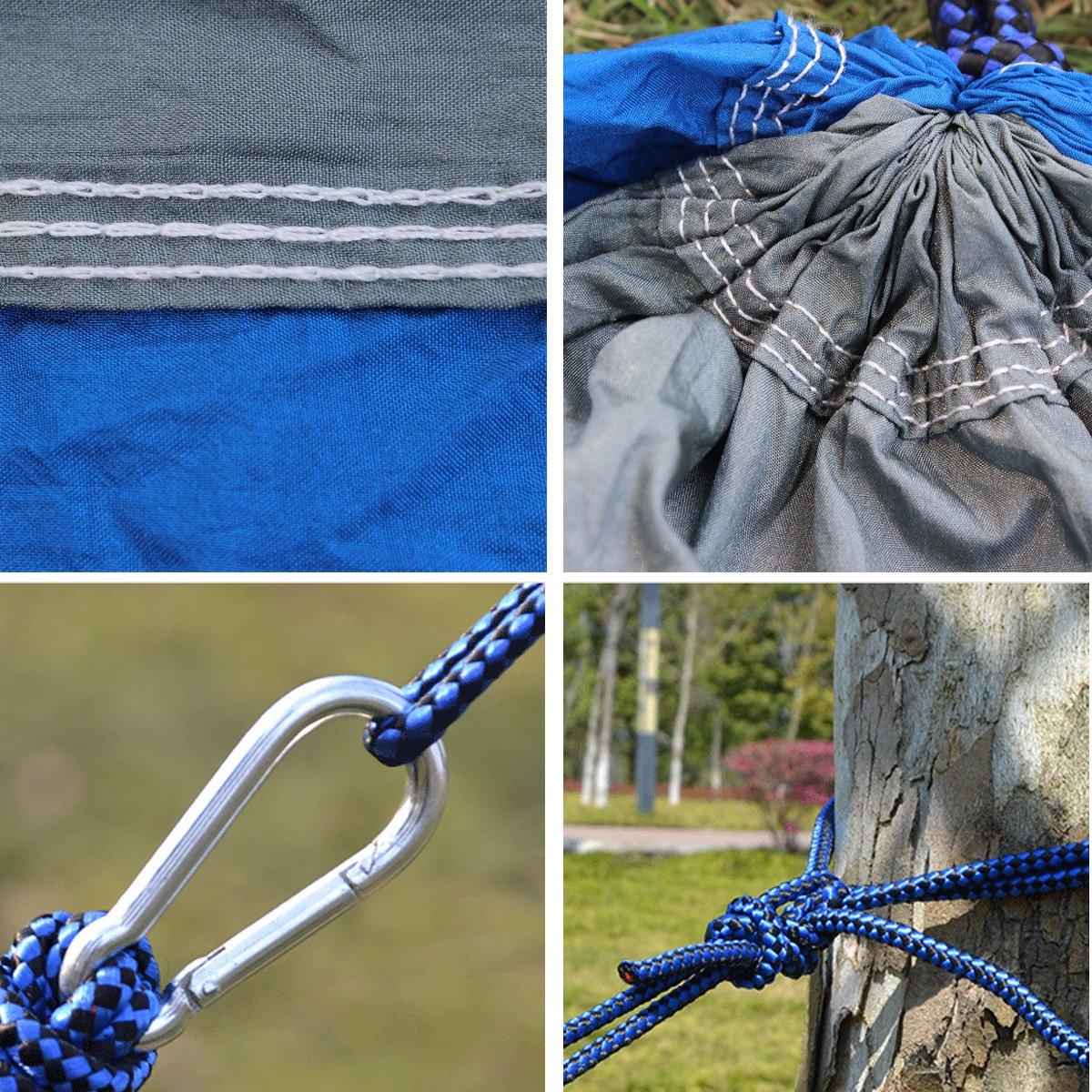 Single / Double Camping Hamaca, NATUCE Portátil de secado rápido Paracaídas Nylon Tela cama para senderismo / Viajes / Mochilero / Playa / Yard, ...