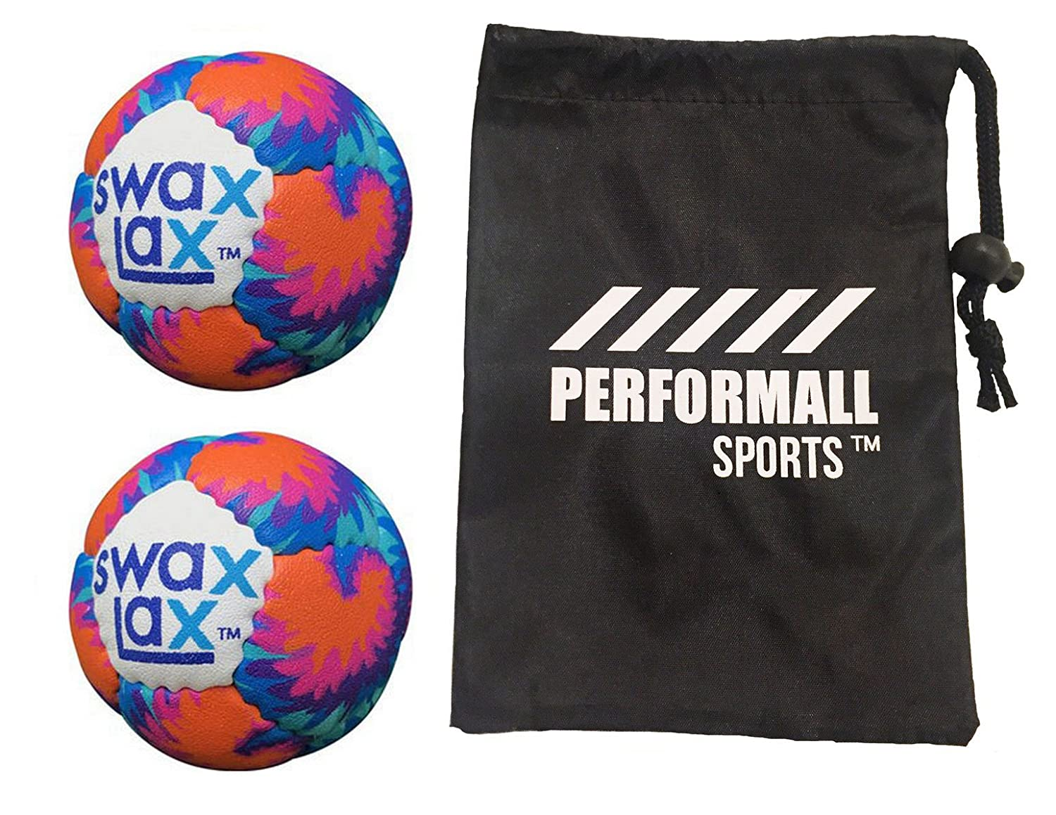 Swax Lax Balls (2 - Pack)ソフトラクロスWeightedトレーニングボールホワイトSwaxラクロスボールwith 1 performallスポーツバッグ0600 – 2p