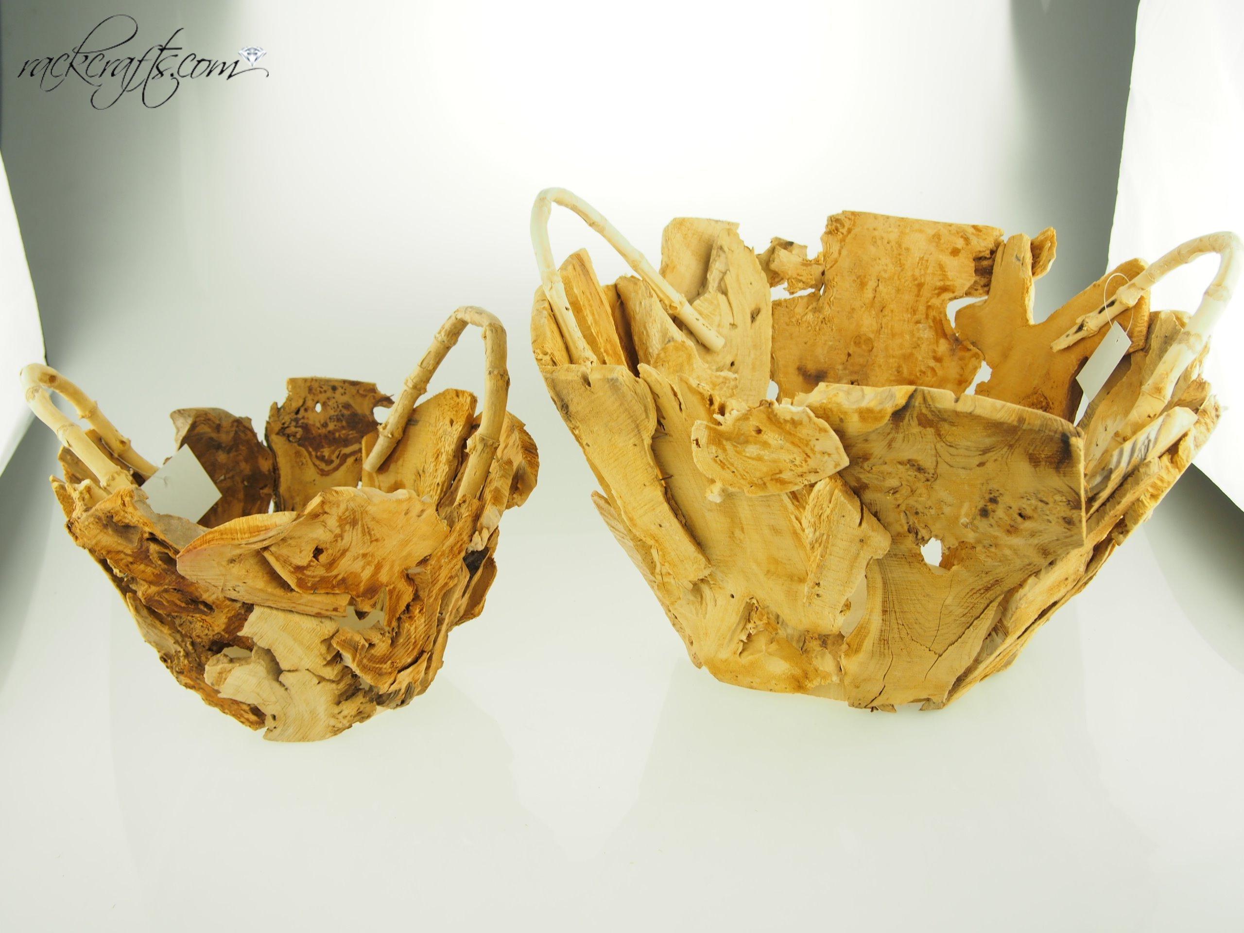 rackcrafts.com Decorative Wooden Baskets - 15.5'' Chipped Wood (2 pc set) Wedding Garden Flower Girl Basket by rackcrafts.com (Image #1)