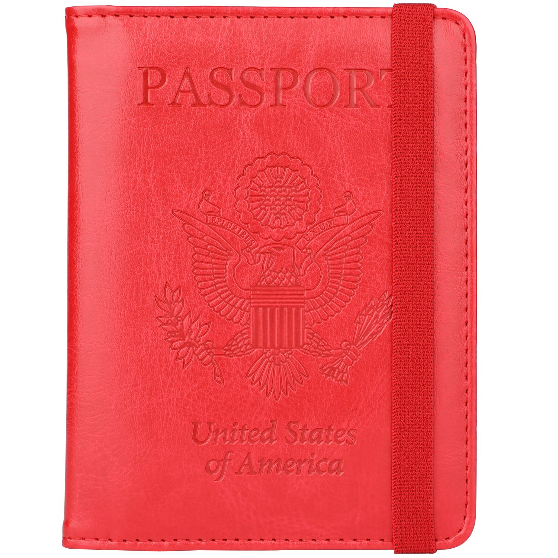 GDTK RFID Blocking Leather Passport Holder Cover Case Travel Wallet Elastic Strap PHES-1210