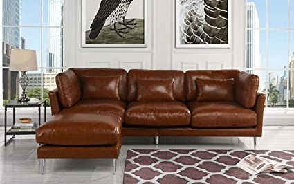 Modern Leather Sectional Sofa, L Shape Couch (Light Brown)