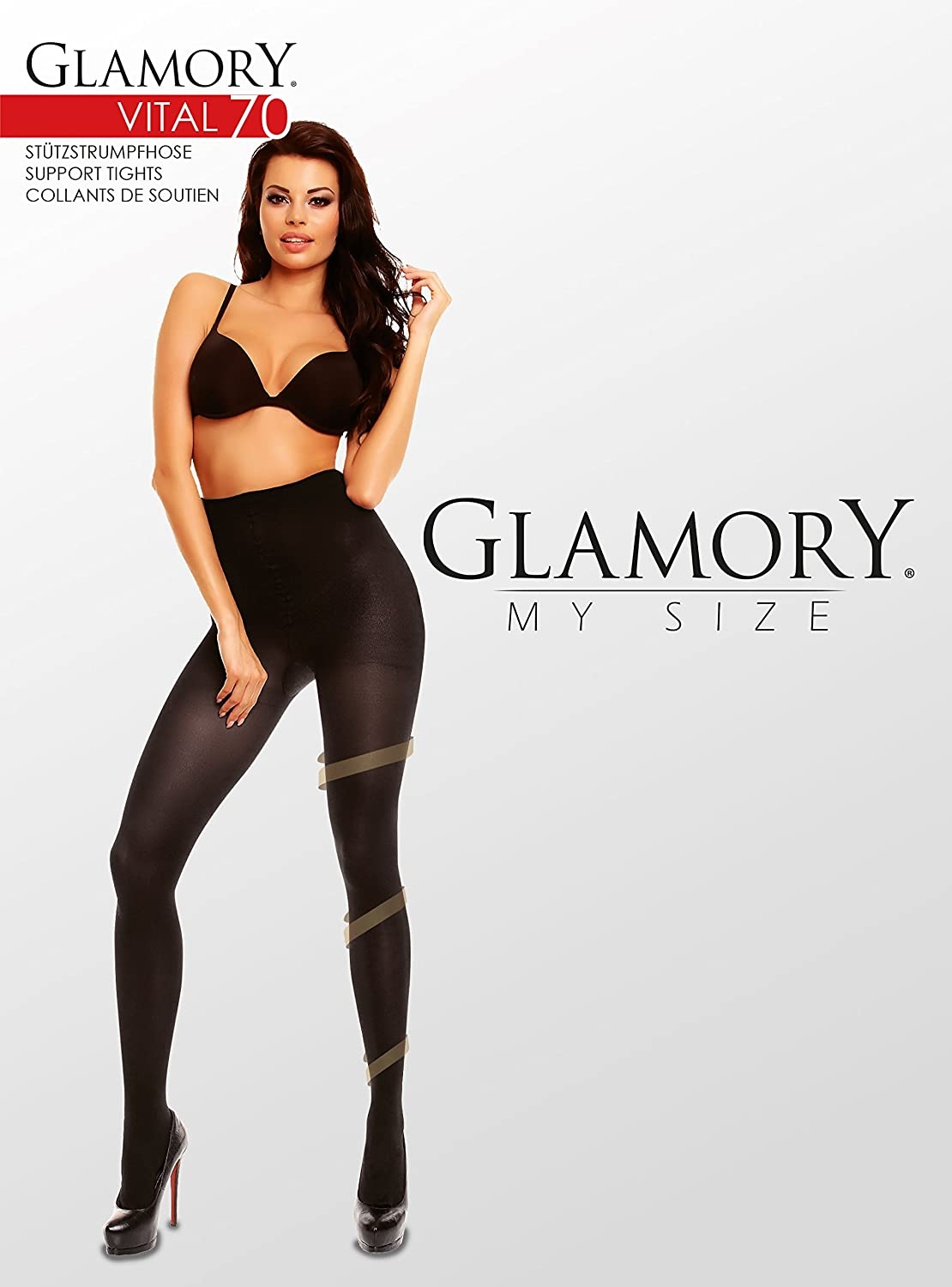 5e57cc6af5ea8 GLAMORY Vital 70 Support Tights plus Size-black-3XL-(26-28) at Amazon  Women's Clothing store:
