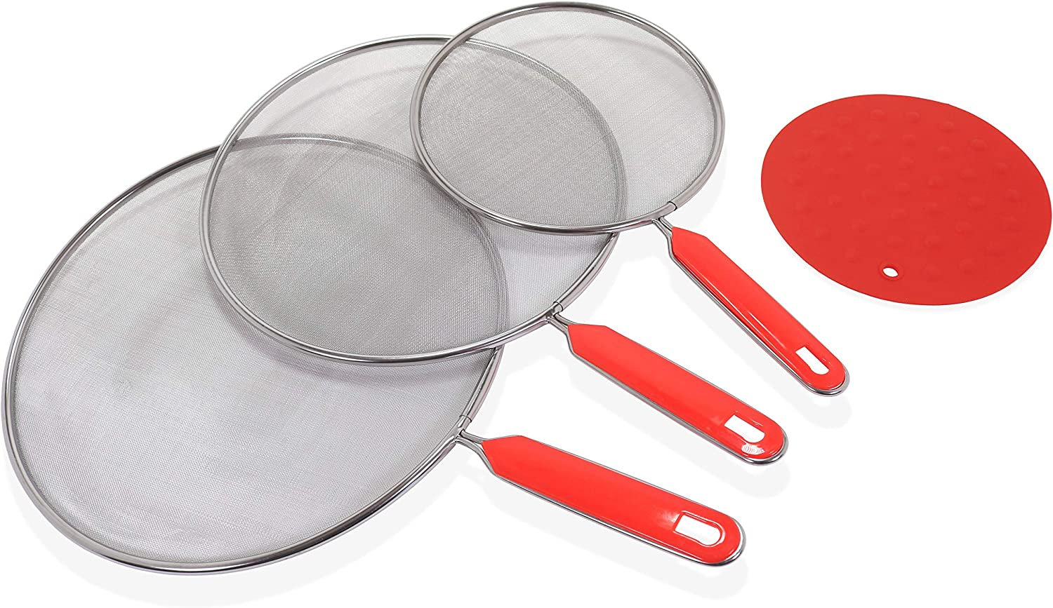 Grease Splatter Screens For Frying Pan (Set of 3 Stainless Steel) by DOMUS724