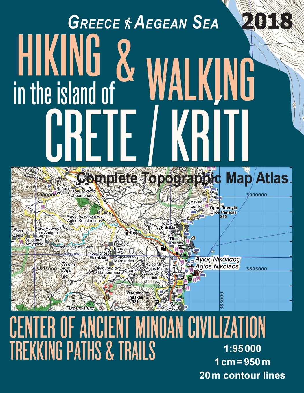 Topographic Map Of Ancient Greece.Hiking Walking In The Island Of Crete Kriti Complete Topographic