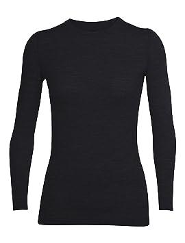 a8299b76d36 Icebreaker Merino Women's Sprite Long Sleeve Crewe Top, Black, X-Small