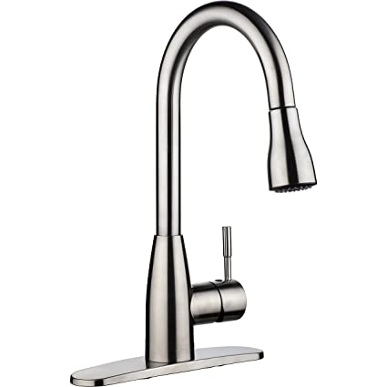 pH7 Single Handle Pull Down Sprayer Kitchen Sink Faucet Brushed ...