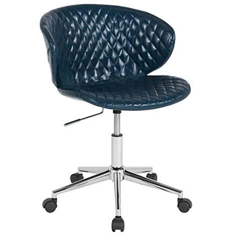Pleasing Flash Furniture Cambridge Home And Office Upholstered Mid Back Chair In Blue Vinyl Home Interior And Landscaping Transignezvosmurscom