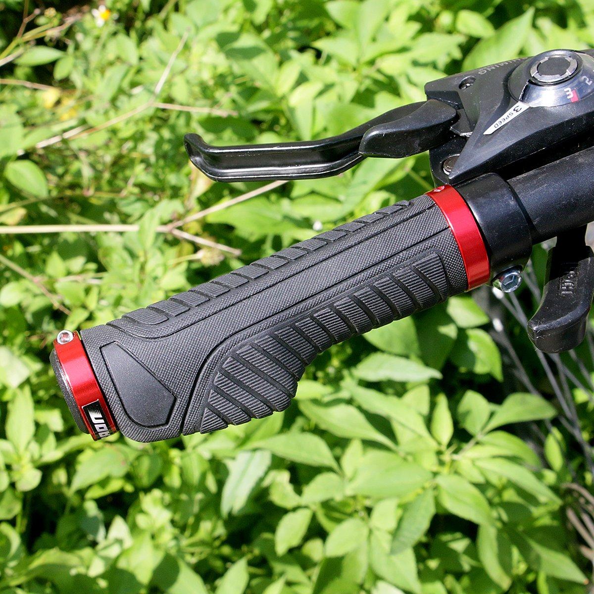 LYCAON Pu/ños de Manillar de Bicicleta Dos Lados de Bloqueo Antideslizante de Caucho Agarre de la manija de la Bicicleta con Bloqueo de aleaci/ón de Aluminio