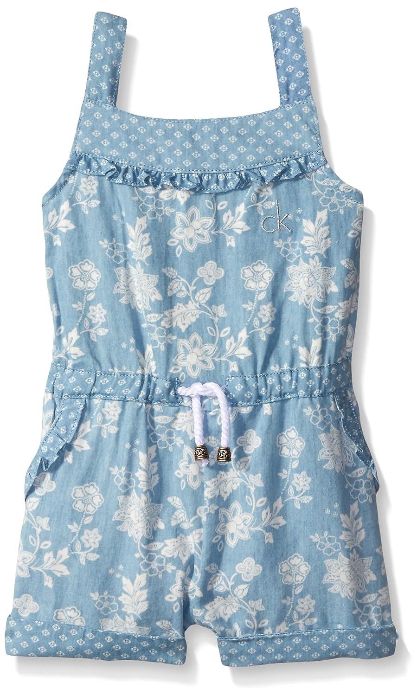Calvin Klein Baby-Girls Discharge Printed Denim Romper Blue 6 CKSGA-1143