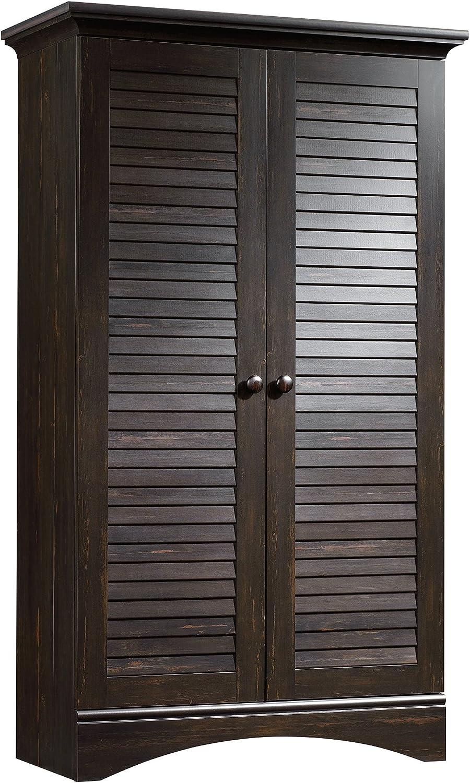 """Sauder 416797 Harbor View Storage Cabinet, L: 35.43"""" x W: 16.73"""" x H: 61.02"""", Antiqued Paint finish"""