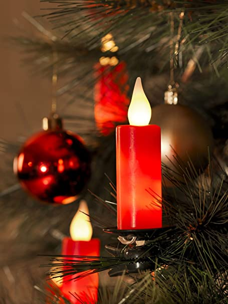 10x WAX candles LED Christmas lights - flicker flame effect - Red - 2315-553 - 10x WAX Candles LED Christmas Lights - Flicker Flame Effect - Red