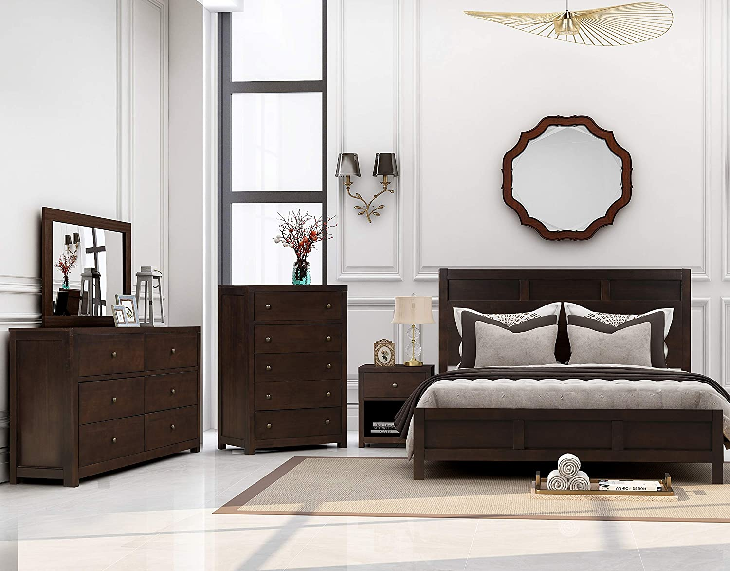 Amazon Com Softsea 6 Pieces King Bedroom Furniture Set Philippe Style Matching King Bed Dresser 5 Drawer Chest Mirror 2 Nightstands Wood King Size Furniture Decor
