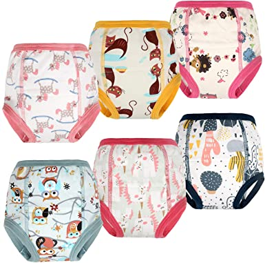 MooMoo Baby 6 Packs Cotton Training Pants Reusable Toddler Potty Training Underwear for Boy and Girl