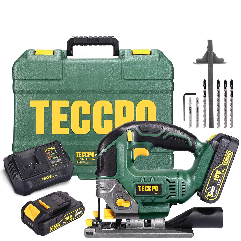 Cordless Jigsaw, TECCPO 18V Jig Saw, 2x2000mAh Battery, 30 Minute Fast Charger 4.0Ah, LED Light, 0~2300SPM, Stroke Height 22mm, Maximum Cutting Angle 45 °, Six Saw Blades /TDJA22P
