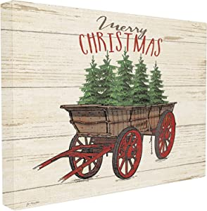 Stupell Industries Merry Christmas Tree Wagon Stretched Canvas Wall Art, Proudly Made in USA