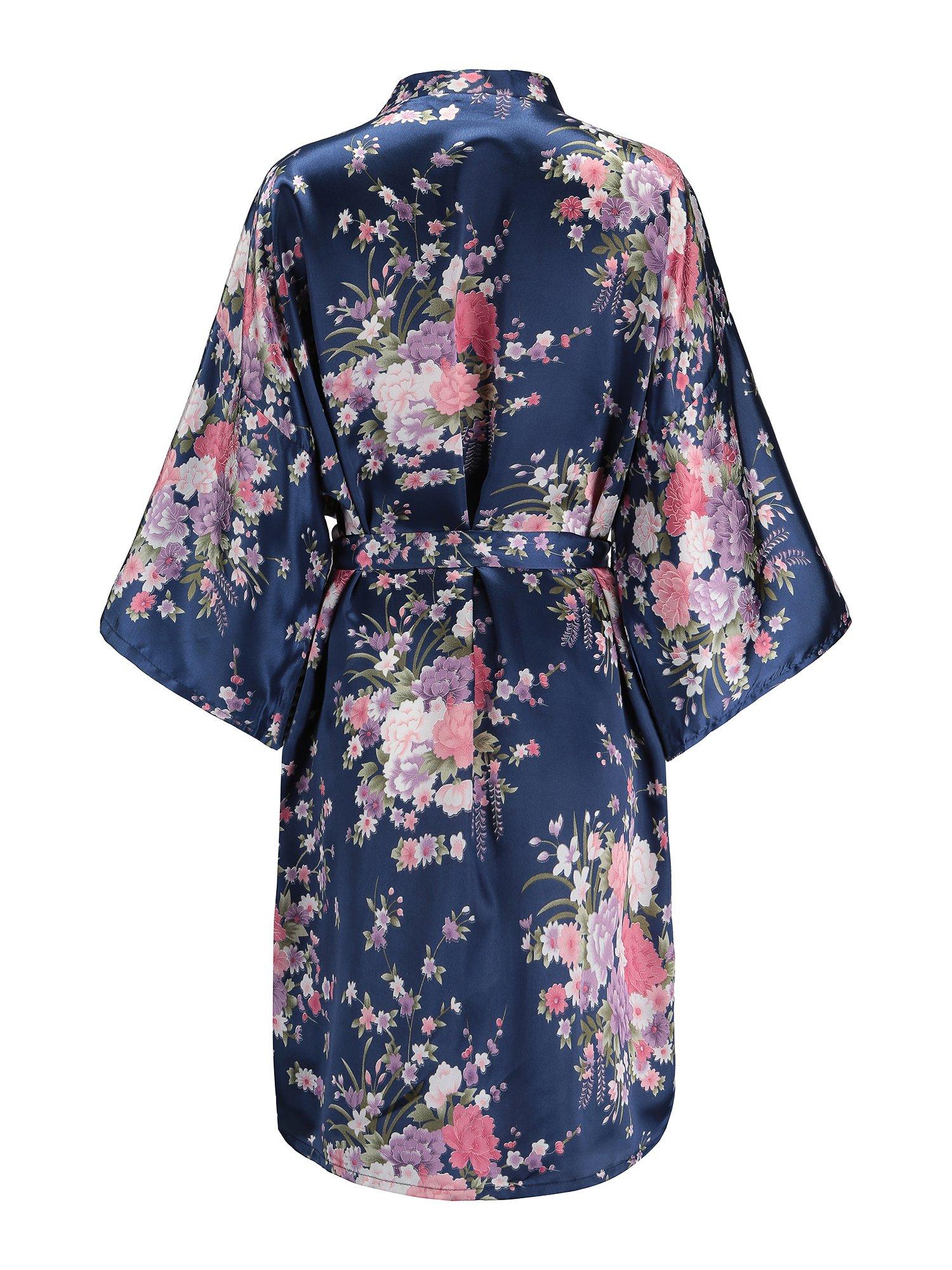 81b3db5f9e EPLAZA Women Floral Satin Robe Bridal Dressing Gown Wedding Bride  Bridesmaid Kimono Sleepwear (Navy)   Robes   Clothing