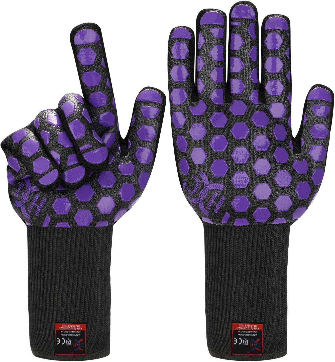 JH Heat Resistant Oven Glove:EN407 Certified 932 °F, 2 Layers Silicone Coating, Black Shell with Purple Coating, BBQ & Oven Mitts For Cooking, Kitchen, Fireplace, Grilling, 1 Pair, Extended Long Cuff