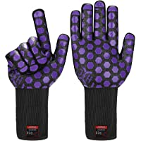 JH Heat Resistant Oven Glove:EN407 Certified 932 °F, 2 Layers Silicone Coating, Black Shell with Purple Coating, BBQ…