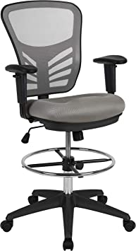 Flash Furniture Mid-Back Mesh Ergonomic Drafting Chair