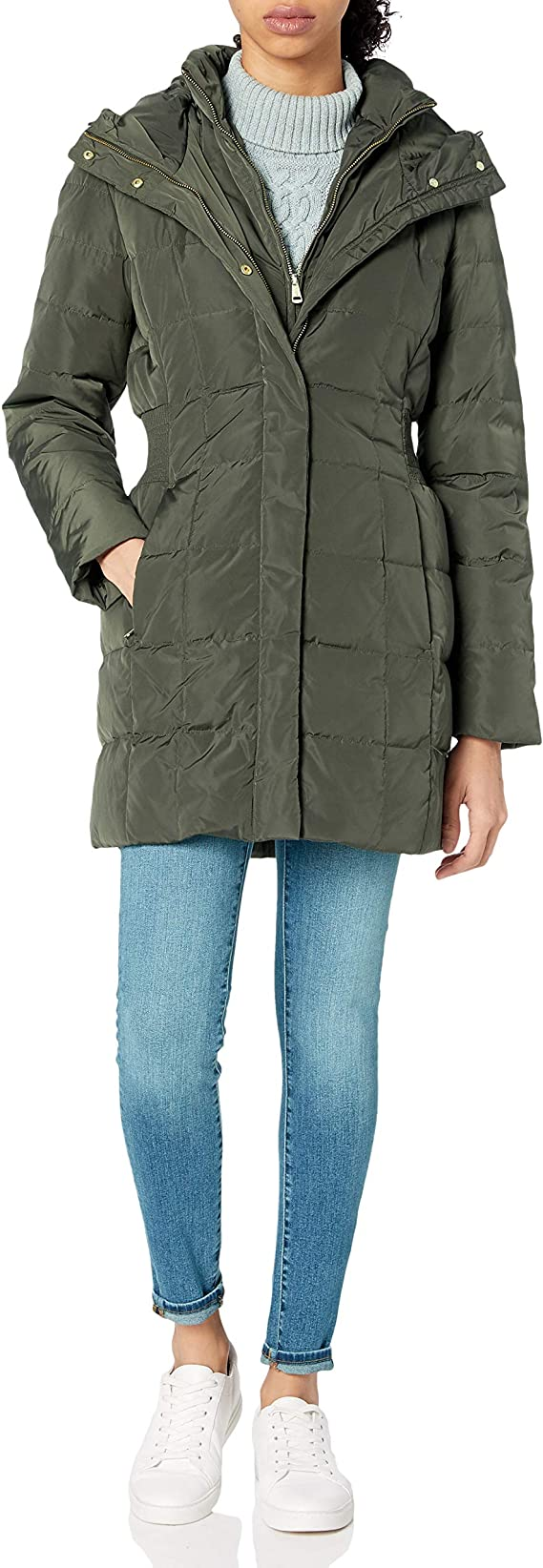 Cole Haan Womens Taffeta Down Coat with Bib