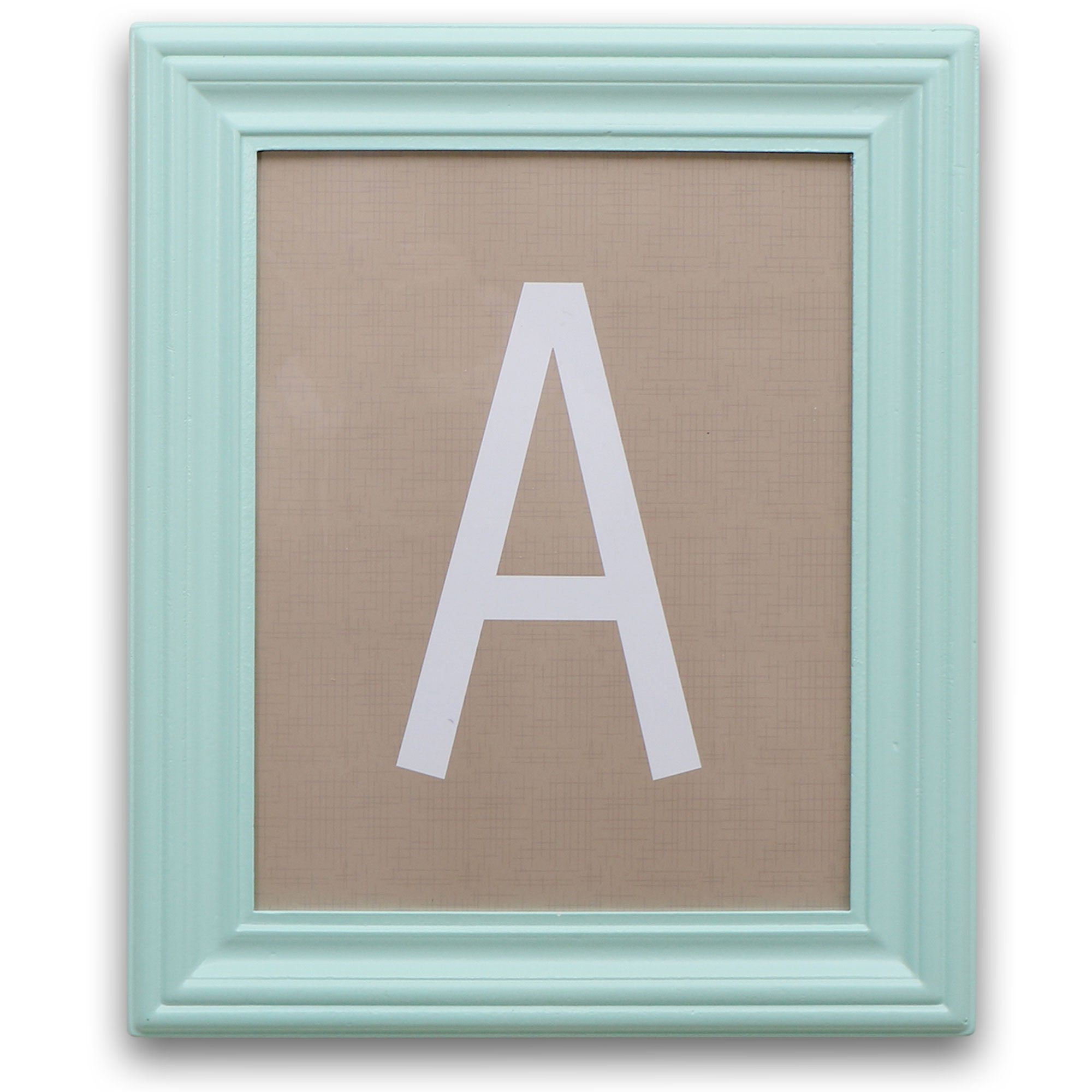 Aqua Framed White on Taupe Hanging Wall Letters, All 26 Letters Included