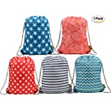 Water Resistant Ripstop Polyester Drawstring Bags Kids Backpacks with Pattern Printing on 2 Sides, 5 Designs in a Set