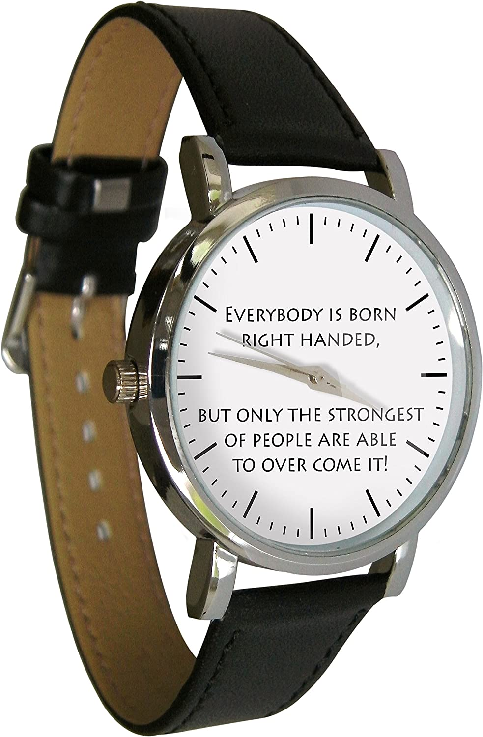 Unisex Left Handed Watch with Black Leather Band. Genuine Leather Strap