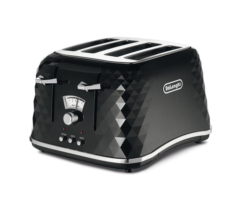 De'Longhi CTJ4003.BK Brillante Faceted 4 Slice Toaster - Black (Certified Refurbished) De'Longhi