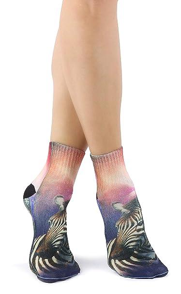 De las mujeres Muchachas y muchachos adolescentes Calcetines únicos de moda con estampado de doble cara Cebra 3D: Amazon.es: Ropa y accesorios