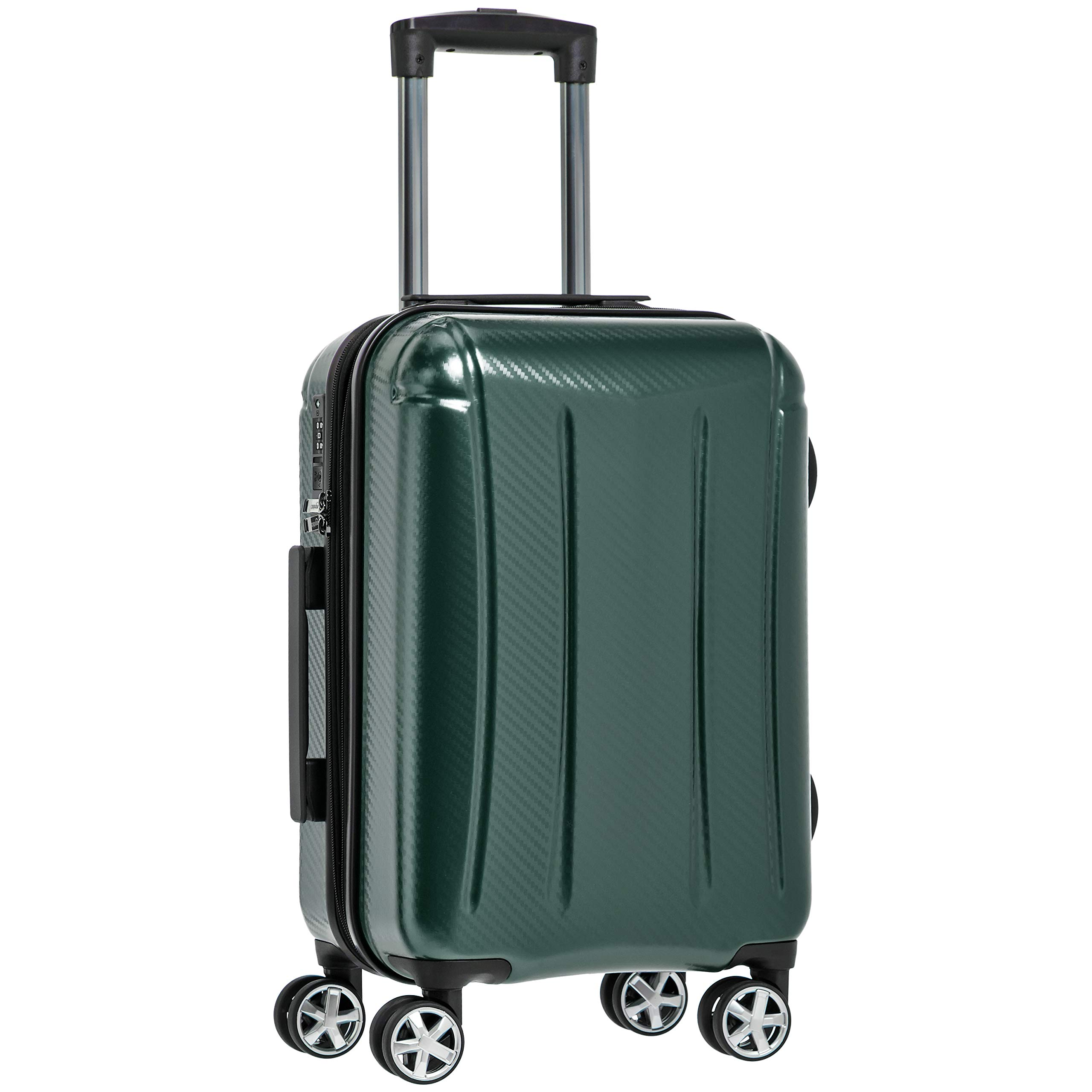 AmazonBasics Oxford Luggage Expandable Suitcase with TSA Lock Spinner, 20-Inch Carry-On, Green