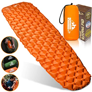 Outdoorsman Lab Camping Sleeping Pad   Ultralight Inflatable Camping Mat Pad for Backpacking & Hiking   Durable Insulated Sleeping Mat, Compact Carrying Bag and Repair Kit