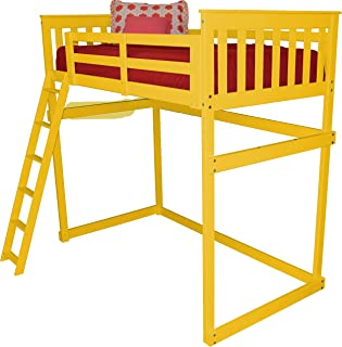 product image for DutchCrafters Amish Mission Loft Bed with Ladder - Twin Size Bed (Paint - White, Ladder Style - Side Ladder)