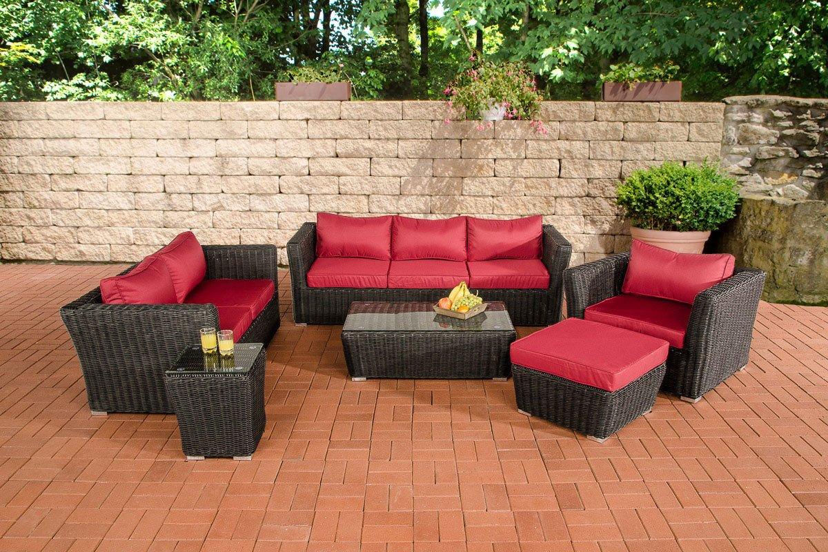 CLP Gartengarnitur MANDAL schwarz aus Polyrattan (6 Sitzplätze: 3-2-1) Premiumqualität (5 mm Rund-Rattan) inkl. Polstern & Kissen schwarz, Bezugfarbe Rubinrot