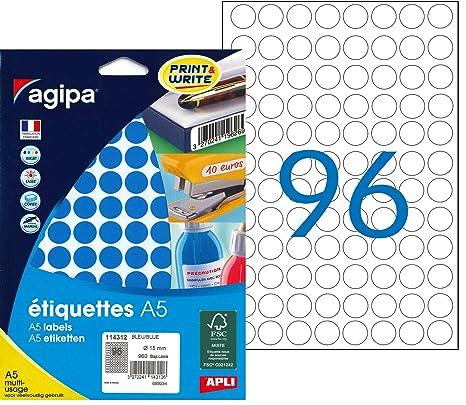 Agipa A5 960 Etiquetas Redondas, diámetro 15 mm, Azul: Amazon.es ...